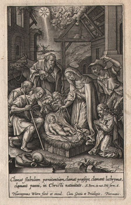 Hieronymus Wierix (1553-1619) -  Adoration of the shepherds
