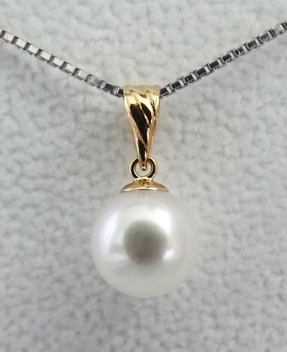 HS Jewellery Akoya pearl, Premium 8.95 mm - Pendant, 18 kt. Yellow Gold (NO RESERVE)