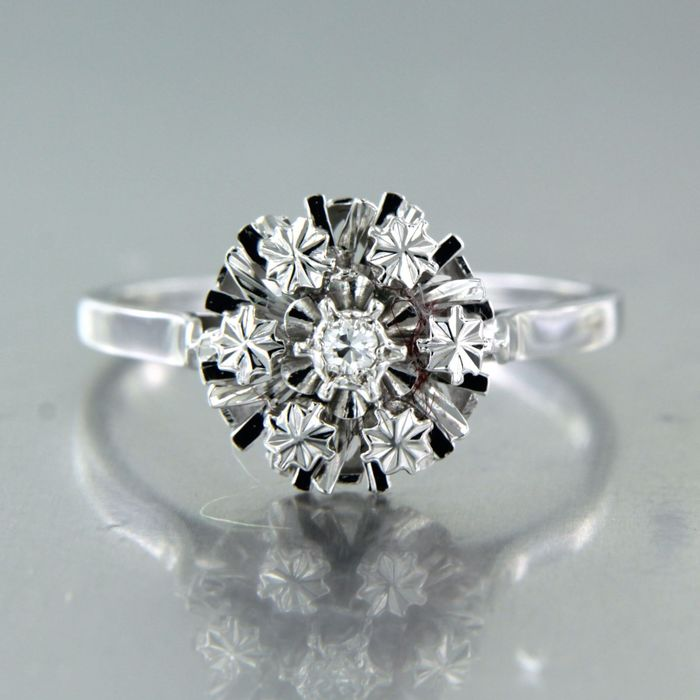 18 kt. White gold - Ring - 0.04 ct Diamond