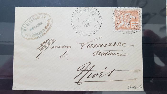 Frankrijk 1902 - Rare letter from Le Vanneau bound for Niort with a N°117 cancelled with a Dated dashed postmark