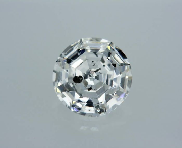 1 pcs Diamond - 1.02 ct - Round Step Cut - D (colourless) - SI3