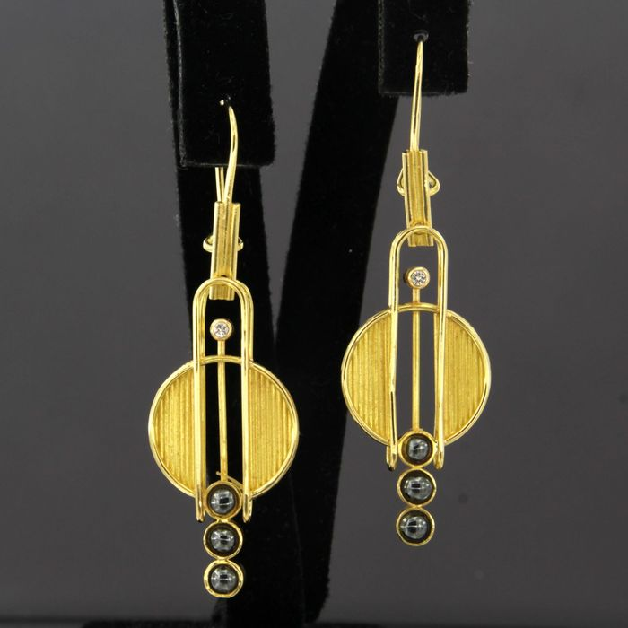 18 quilates Oro amarillo - Pendientes - 0.02 ct Diamante - Hematita