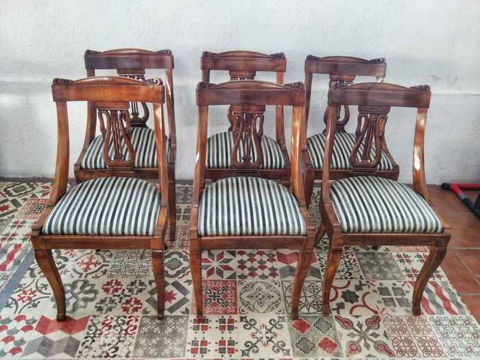 Chair, Dining chair, Dining room chair (6) - Napoleon III - Walnut - Late 19th century for sale