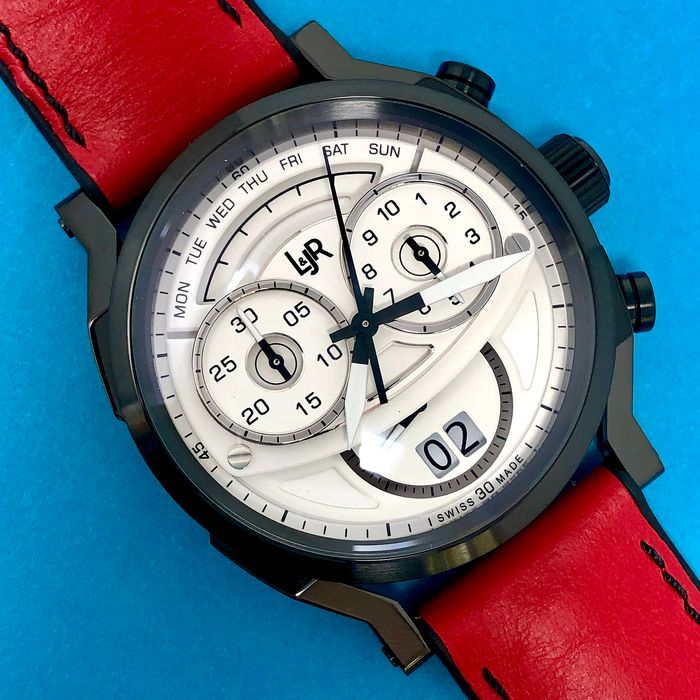 L&JR - Chronograph Day and Date White Dial with Burgundy Strap Swiss Made - S1501-S12 - Herren - Brand New