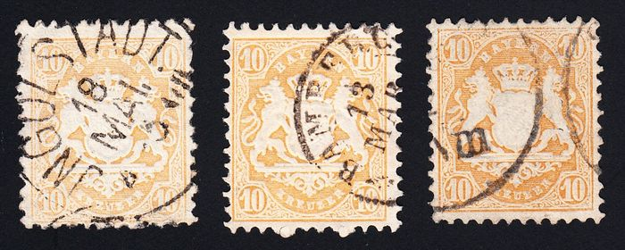 Bavaria 1873 - good stamps, watermark 1 (X and Y) and colours (a and b), expertised - Michel 29 Xb, 29 Ya, 29 Yb