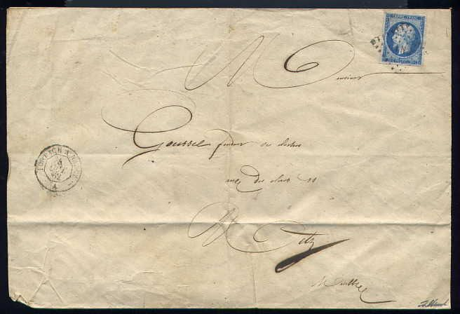 France 1862 - Rare letter bound for Metz with a n°14B - FN 1° Day Mobile Post Office Postmark (Forbach in Nancy)