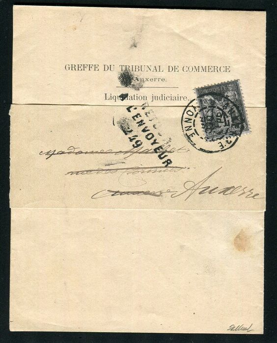France 1896 - Rare summons of the Civil Court of Auxerre with a N°83 Alone on letter