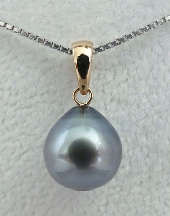 HS Jewellery Tahitian pearl, Blue & Purple Drop-Shaped 10.86 mm X 11.51 mm - Pendant, 18 kt. Yellow Gold (NO RESERVE)