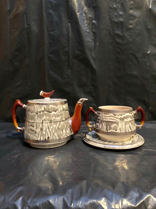 Arthur Wood - Teapot, Creamer and Plate - Pewter, Antler, Stag Horn, Pewter ribbing and Silver painted