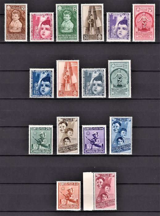 Italy Kingdom 1937 - Summer camps - airmail complete sets - Sassone N. S.88
