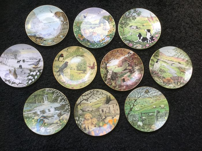 "Collection Franklin Mint porcelain 10 Plates ""All Creatures Large and Small"" - Porcelain"