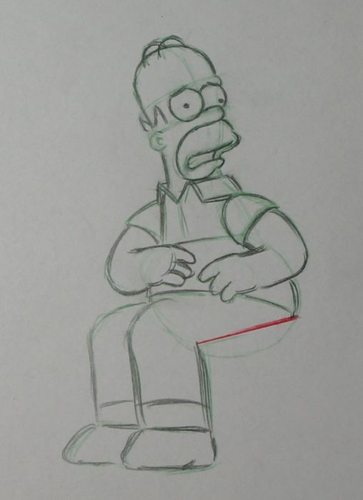 Simpsons, the - Original Animation Drawing Homer Simpson