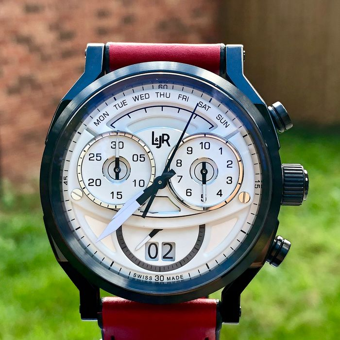 L&JR - Chronograph Day and Date White Dial with Burgundy Strap Swiss Made - S1501-S12 - Men - Brand New
