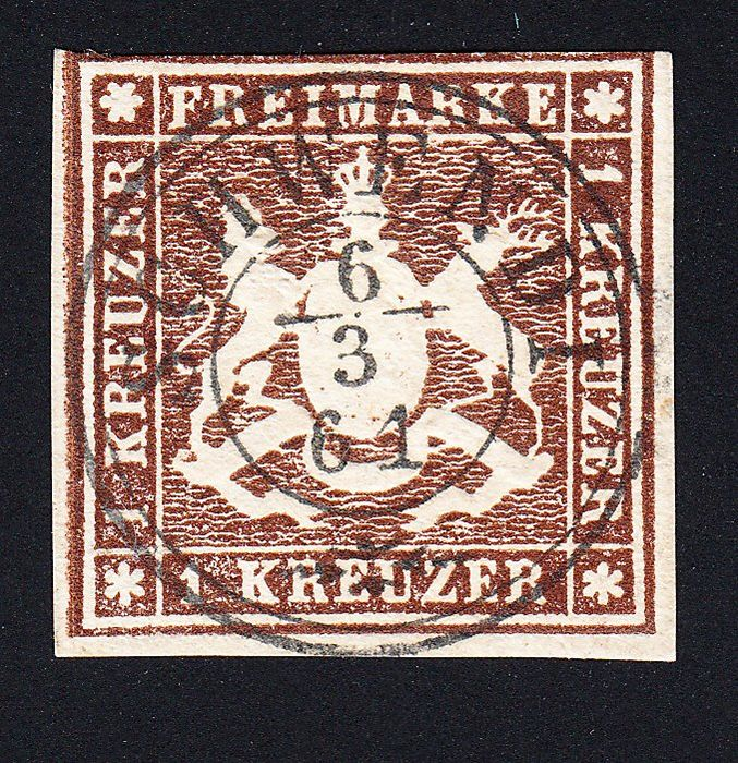 Württemberg 1859 - rarest color b, very good preservation, better cancellation, expertised - Michel 11 b
