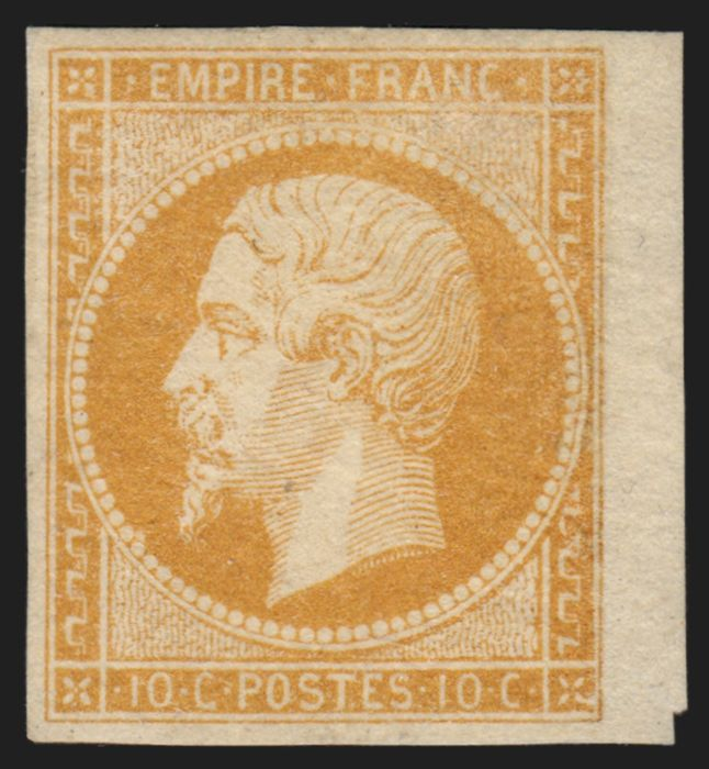 Frankrijk 1853 - Napoleon imperforate, 10 cents orange-bistre, in mint condition with gum - Yvert n° 13A