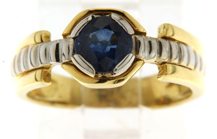 18 kt. White gold, Yellow gold - Ring - 0.90 ct Sapphire
