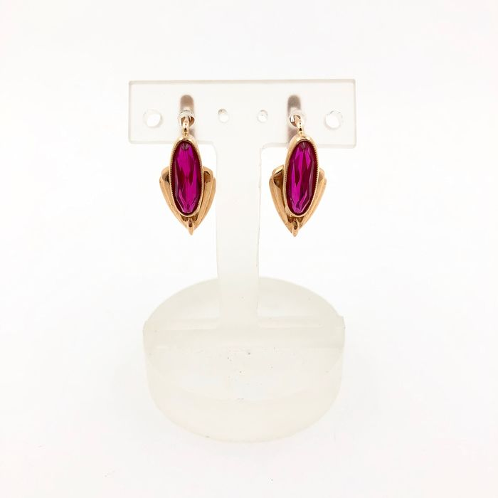 14 kt. Pink gold - Earrings - 4.00 ct Synt. spinel