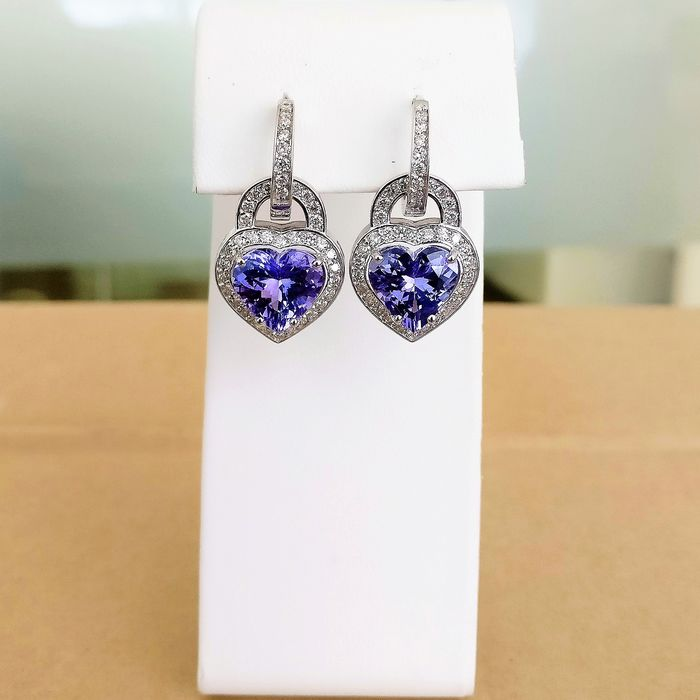 18 kt. White gold - Earrings - 7.41 ct Tanzanite - Diamonds