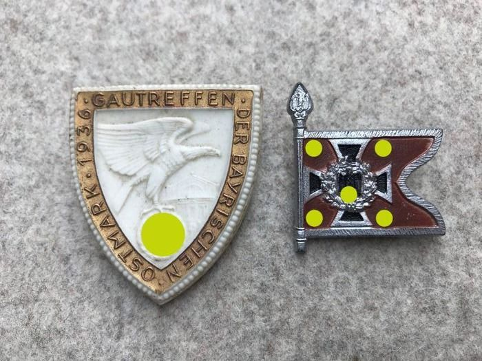 """Germany - 2x conference badge / Tinnie / rare """"Gautreffen Ostmark 1936"""" / and flag of the reconnaissance department - Award"""