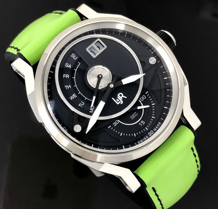 L&JR - Day and Date Black Dial with Green Strap Swiss Made - S1302-S11 - Men - Brand New