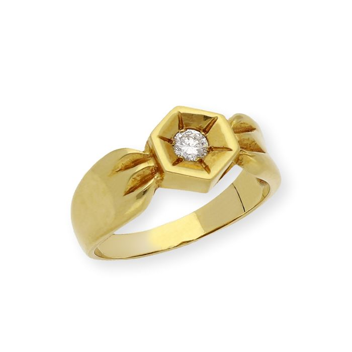 18 kt Gelbgold, Gold - Ring - 0.20 ct Diamant