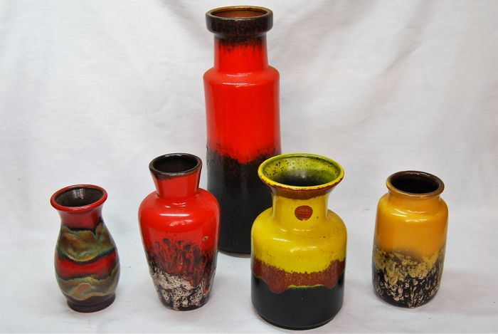 West Germany - Vase, with bright red and yellow glaze (5)