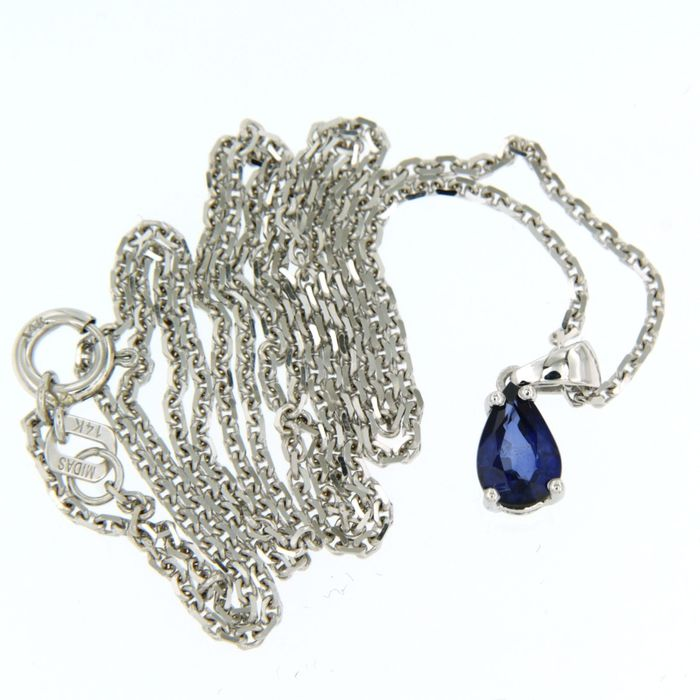 14 kt. White gold - Necklace with pendant - 0.75 ct Sapphire