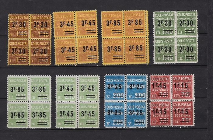 Francia 1938 - Postal parcels - complete series in blocks of 4 copies - Yvert 147 à 154