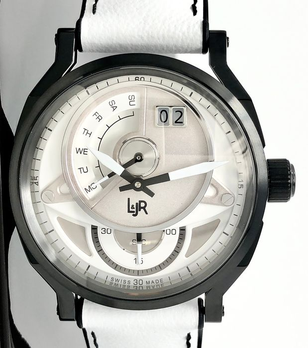 L&JR - Day and Date White Dial with White Strap Swiss Made - S1301-S6 - Herren - Brand New