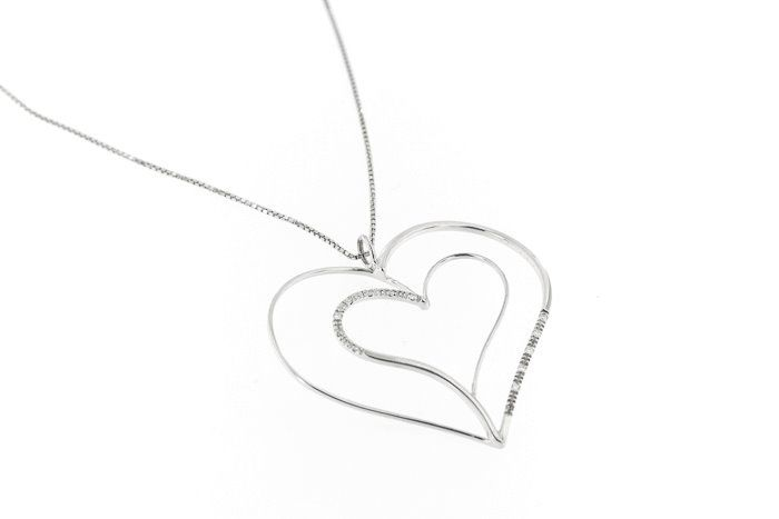 18 kt. White gold - Necklace with pendant - 0.13 ct Diamond