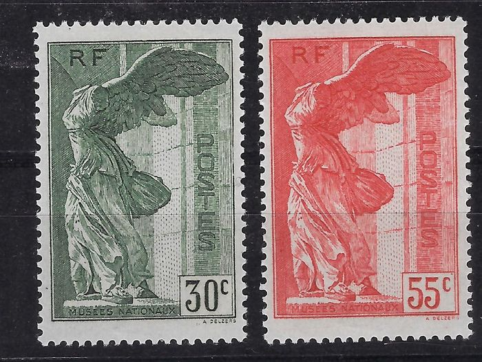 Frankrijk 1937 - Winged victory of Samothrace - Signed and with Calvès certificate - Yvert 354-355