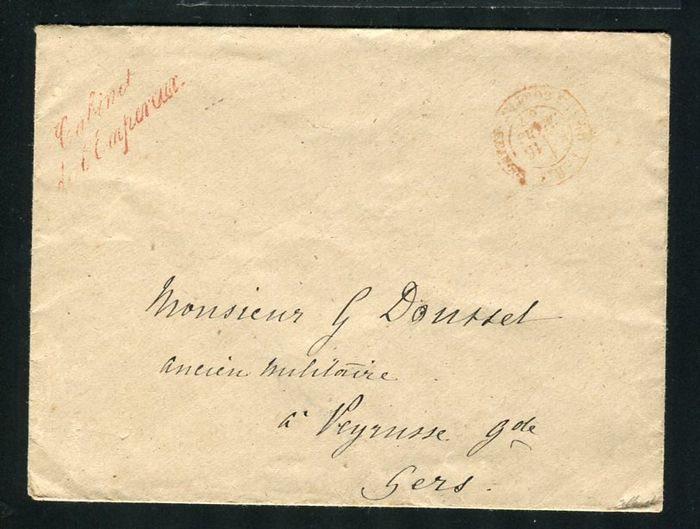 Frankrijk 1867 - Rare duty-free letter Emperor's Office - Red Stamp of the 'Section des Contre-Seings'