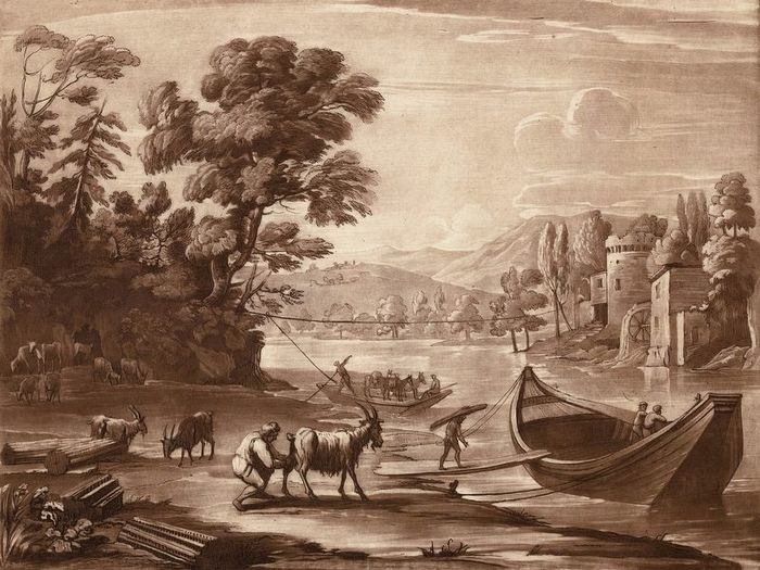 Claude Lorrain after, Richard Earlom, ca 1774 - Mezzotint, river landscape with a ferry and goats.