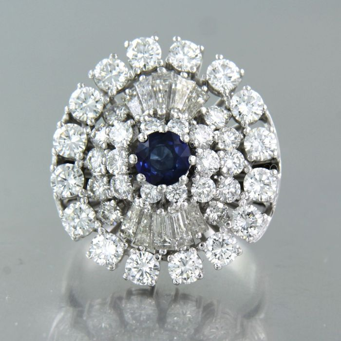 18 karat White gold - Ring - 0.70 ct Sapphire - Diamond