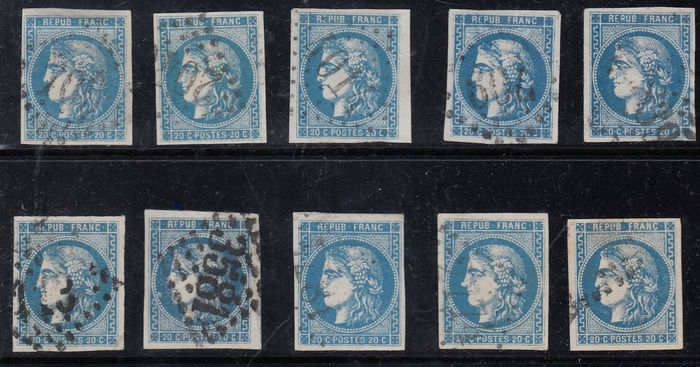 Francia - Bordeaux issue, 20 cents blue x 10 - Yvert 46B