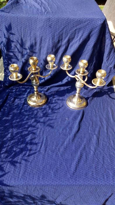 Pair of candlesticks - .800 silver - Italy - First half 20th century
