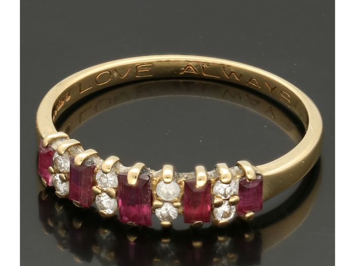 14 kt. Yellow gold - Ring - 0.04 ct Ruby - Diamond