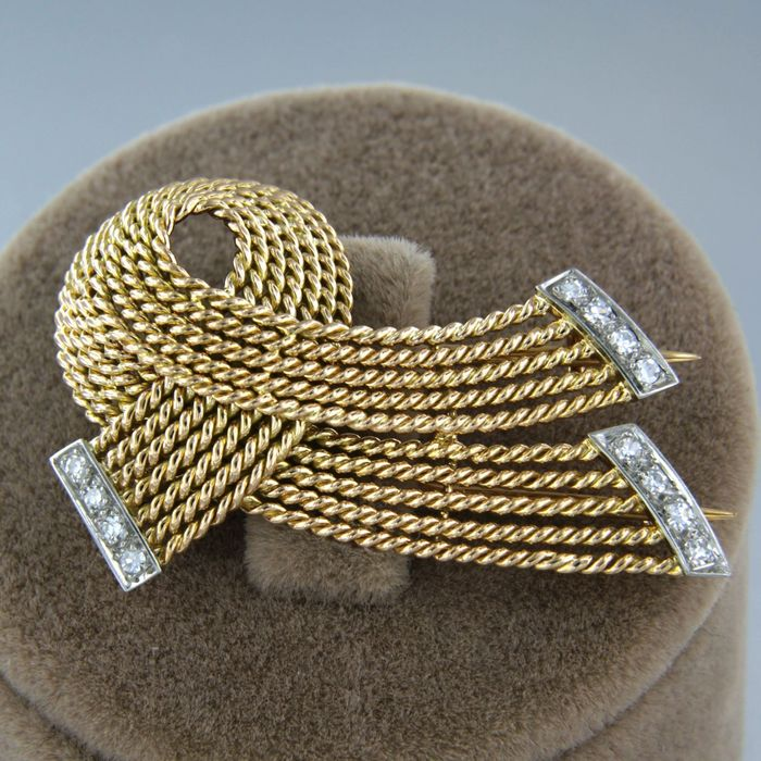 18 kt. White gold, Yellow gold - Brooch - 0.12 ct Diamond