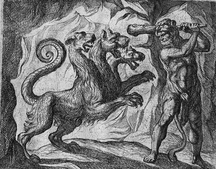 Antonio Tempesta, 1606 - Hercules fighting Cerberus: the dog from Hell / Hades
