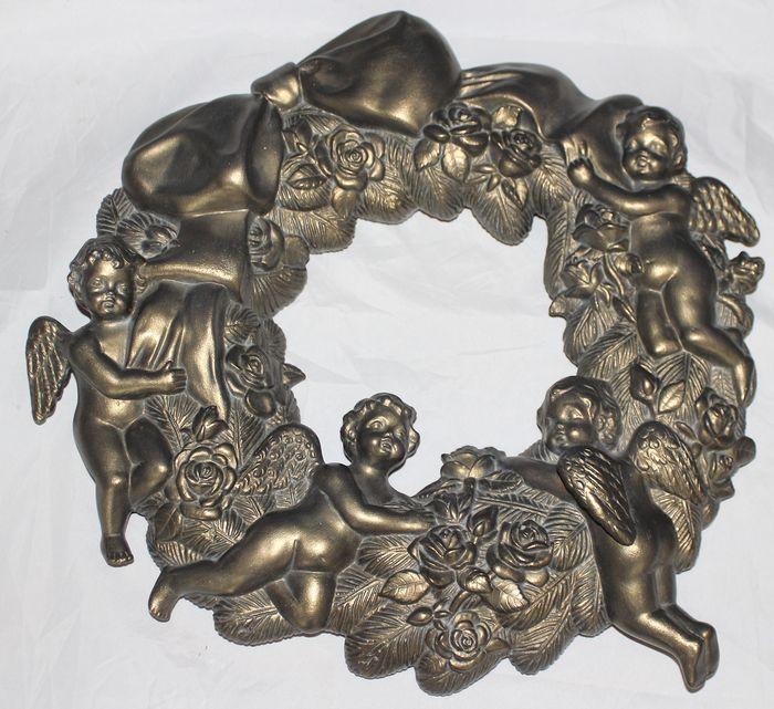 Scioto - Large Christmas wreath with angels - Plaster