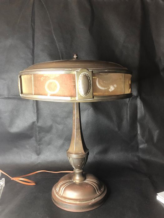 A copper lamp with two fittings. - Copper