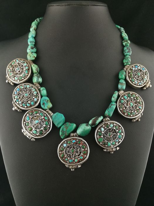 Necklace (1) - Silver +800, Turquoise - Ladakh, India