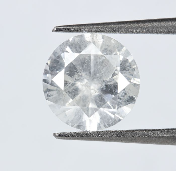 Diamant - 0.91 ct - Natural White - H color - I1  *NO RESERVE*