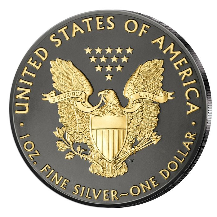États-Unis - 1 Dollar 2019 - Silver Eagle - veredelt mit Ruthenium und 24 Karat Goldapplikation  - 1 Oz - Argent