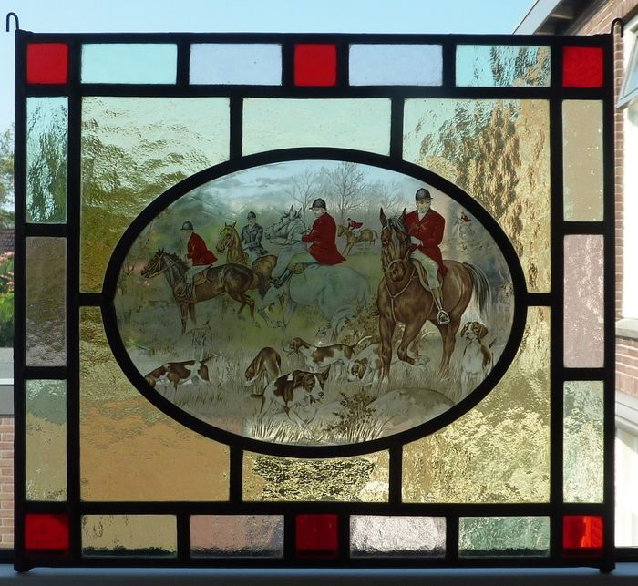 "window hanger ""English hunting scene"" - Stained glass"