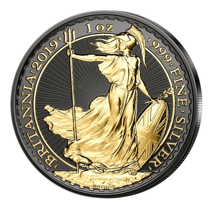 United Kingdom - 2 Pound 2019 - Britannia - veredelt mit Ruthenium und 24K Goldapplikation - 1 oz - Silver