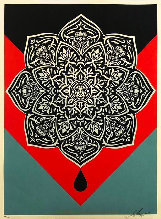 Shepard Fairey (OBEY) - 'Blood and Oil Mandala' (oil drip variant)