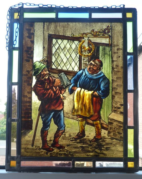 "window hanger ""innkeeper with customer"" - Stained glass"
