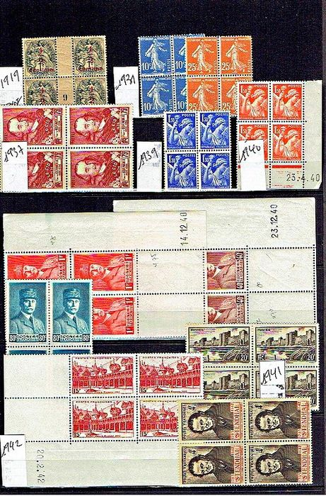 France 1919/2015 - Lot with 168 blocks of 4 stamps mint** - Yvert
