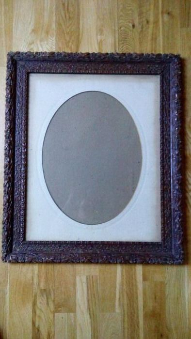 Framing - Marie-Louise & Glass plate - Wood frame, stucco frieze - Louis XIV Style - Glass, Paper, Wood